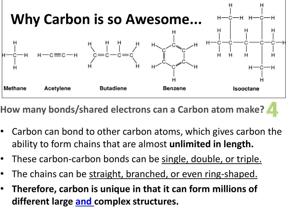 unlimited in length. These carbon-carbon bonds can be single, double, or triple.