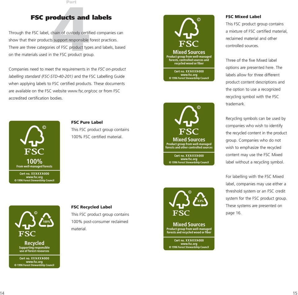 Companies need to meet the requirements in the FSC on-product labelling standard (FSC-STD-40-201) and the FSC Labelling Guide when applying labels to FSC certified products.