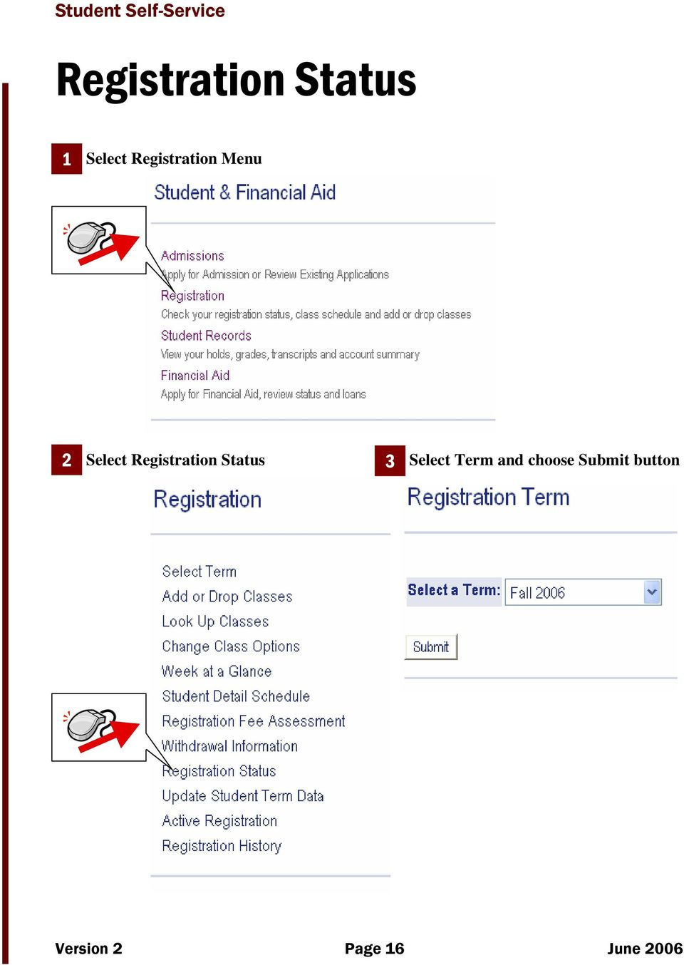 Registration Status 3 Select Term