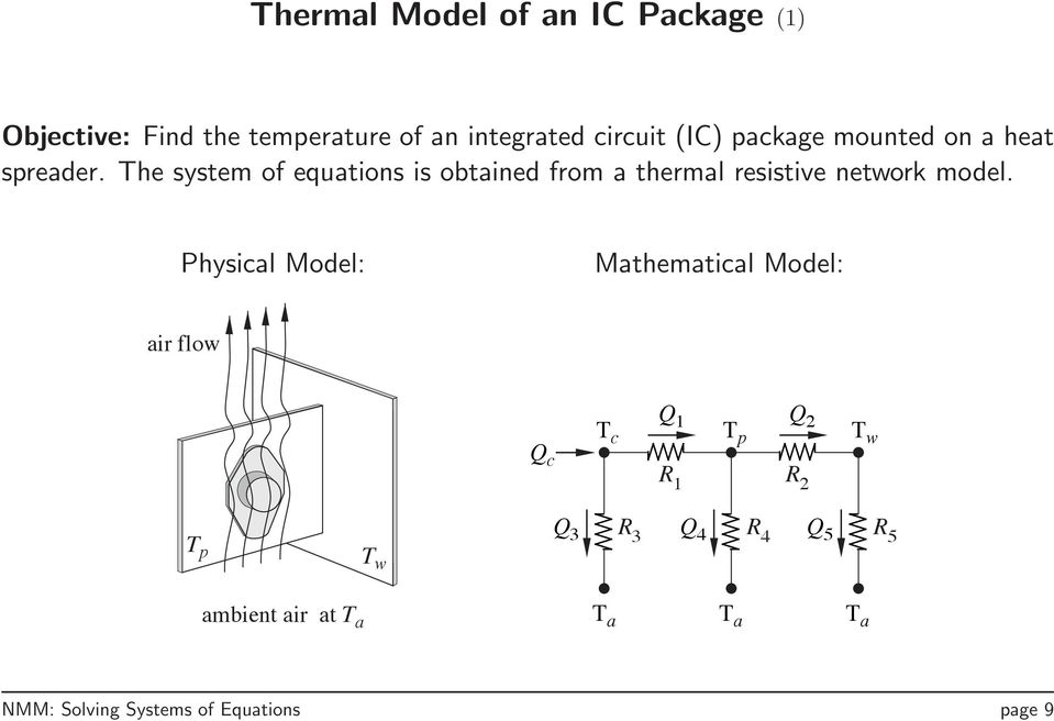 The system of equations is obtained from a thermal resistive network model.