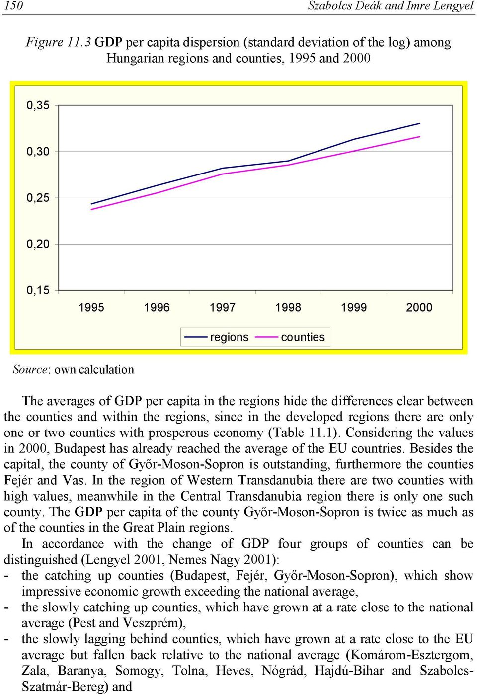 calculation The averages of GDP per capita in the regions hide the differences clear between the counties and within the regions, since in the developed regions there are only one or two counties