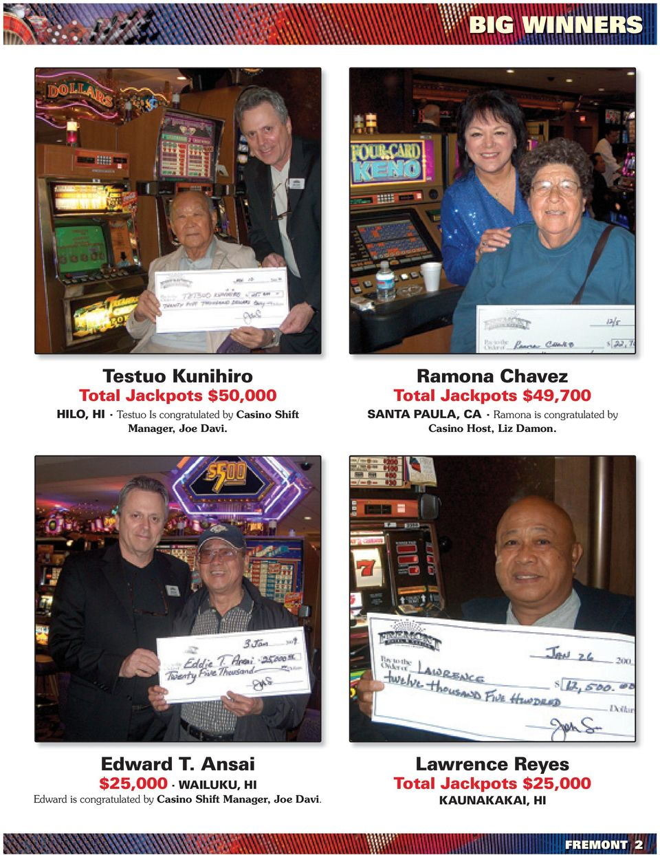 Ramona Chavez Total Jackpots $49,700 SANTA PAULA, CA Ramona is congratulated by Casino Host,