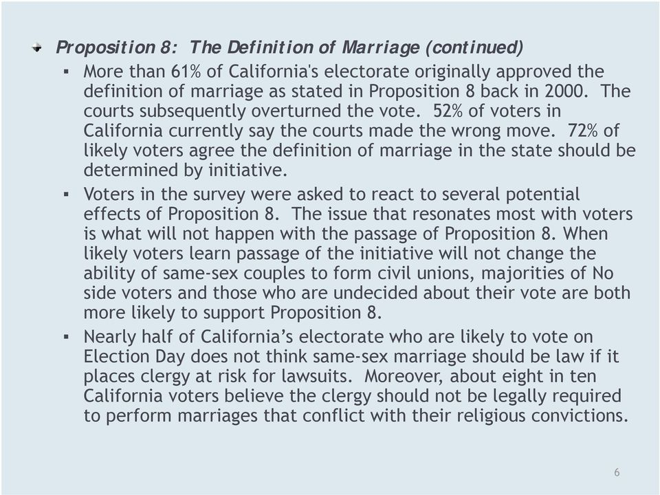 72% of likely voters agree the definition of marriage in the state should be determined by initiative. Voters in the survey were asked to react to several potential effects of Proposition 8.