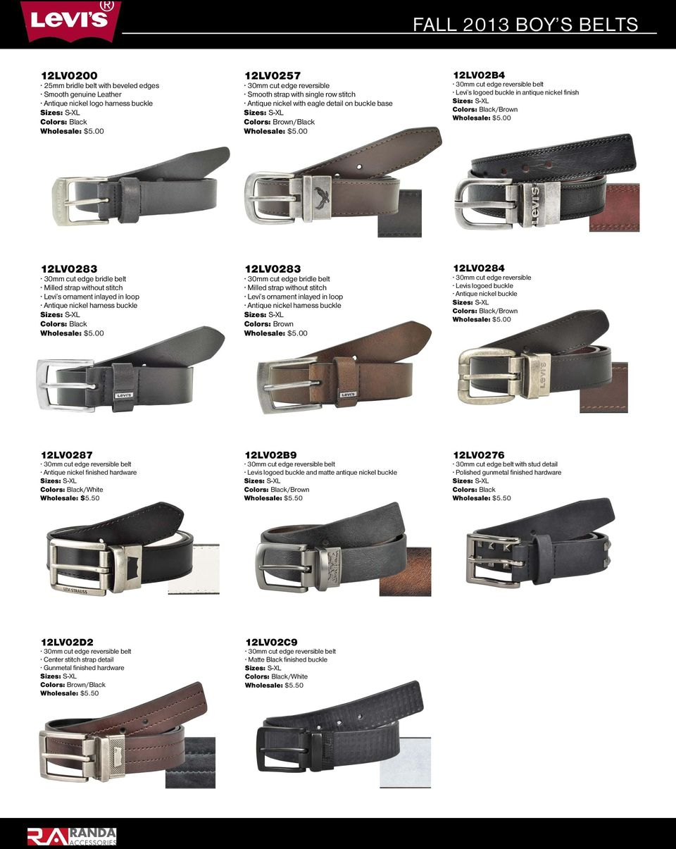 inlayed in loop 12LV0283 30mm cut edge bridle belt Milled strap without stitch Levi s ornament inlayed in loop 12LV0284 30mm cut edge reversible Levis logoed buckle Antique nickel buckle /Brown