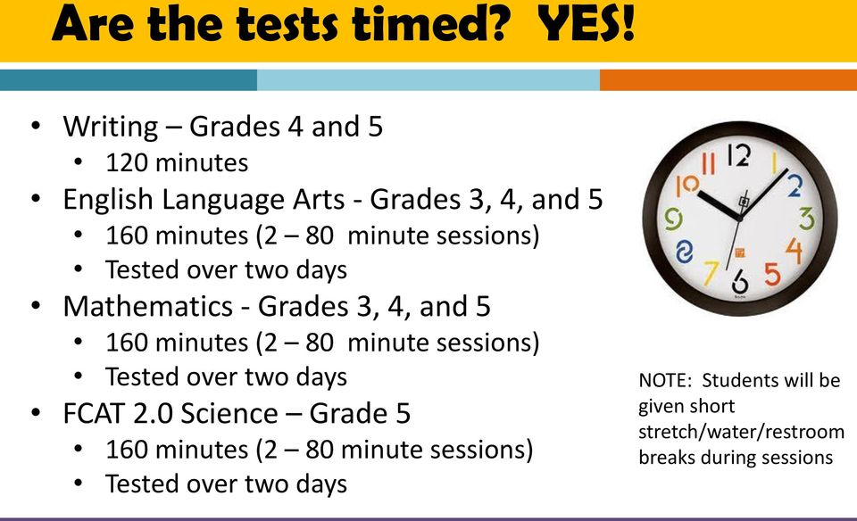 sessions) Tested over two days Mathematics - Grades 3, 4, and 5 160 minutes (2 80 minute sessions)