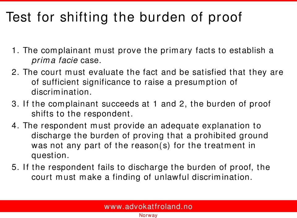 If the complainant succeeds at 1 and 2, the burden of proof shifts to the respondent. 4.