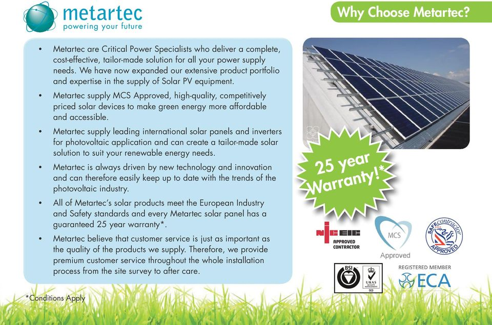 Metartec supply MCS Approved, high-quality, competitively priced solar devices to make green energy more affordable and accessible.