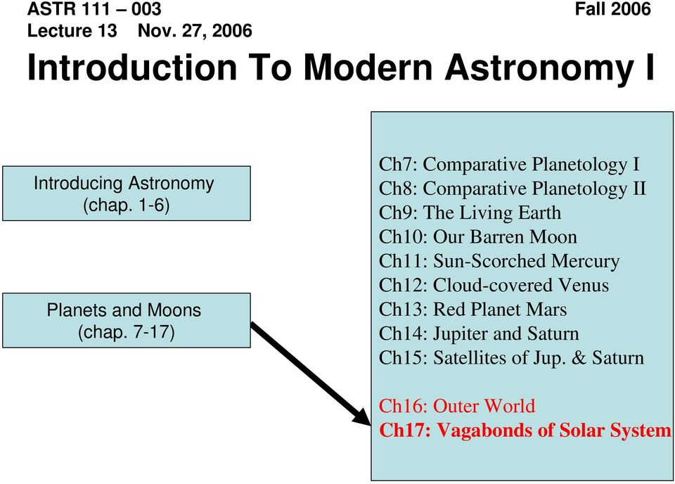 7-17) Ch7: Comparative Planetology I Ch8: Comparative Planetology II Ch9: The Living Earth Ch10: Our Barren
