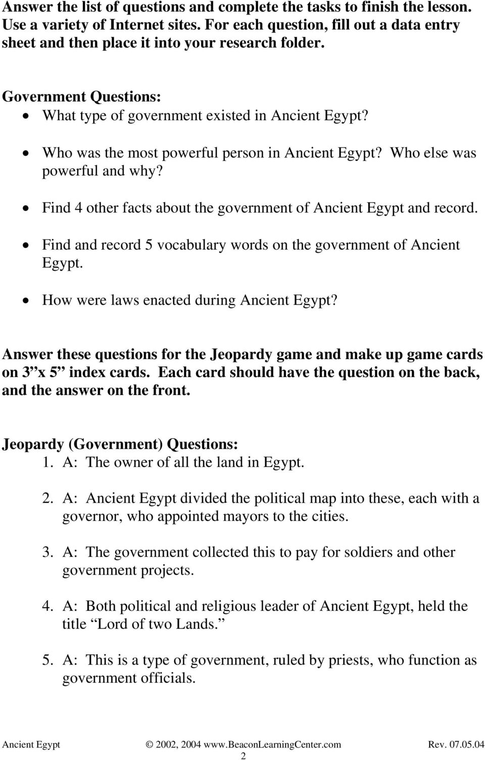 Find 4 other facts about the government of Ancient Egypt and record. Find and record 5 vocabulary words on the government of Ancient Egypt. How were laws enacted during Ancient Egypt?