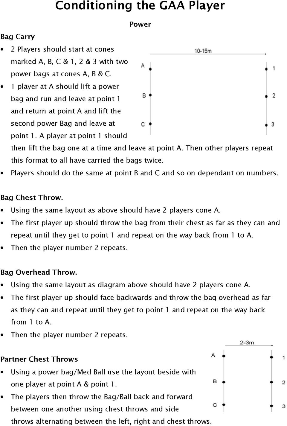 A player at point 1 should then lift the bag one at a time and leave at point A. Then other players repeat this format to all have carried the bags twice.