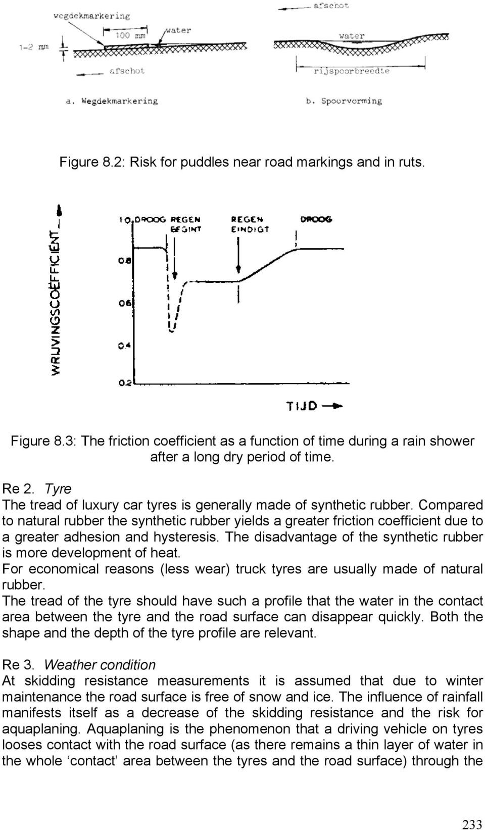 Compared to natural rubber the synthetic rubber yields a greater friction coefficient due to a greater adhesion and hysteresis. The disadvantage of the synthetic rubber is more development of heat.