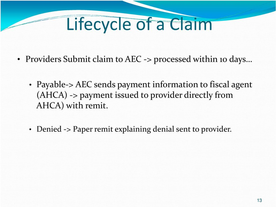agent (AHCA) -> payment issued to provider directly from AHCA)