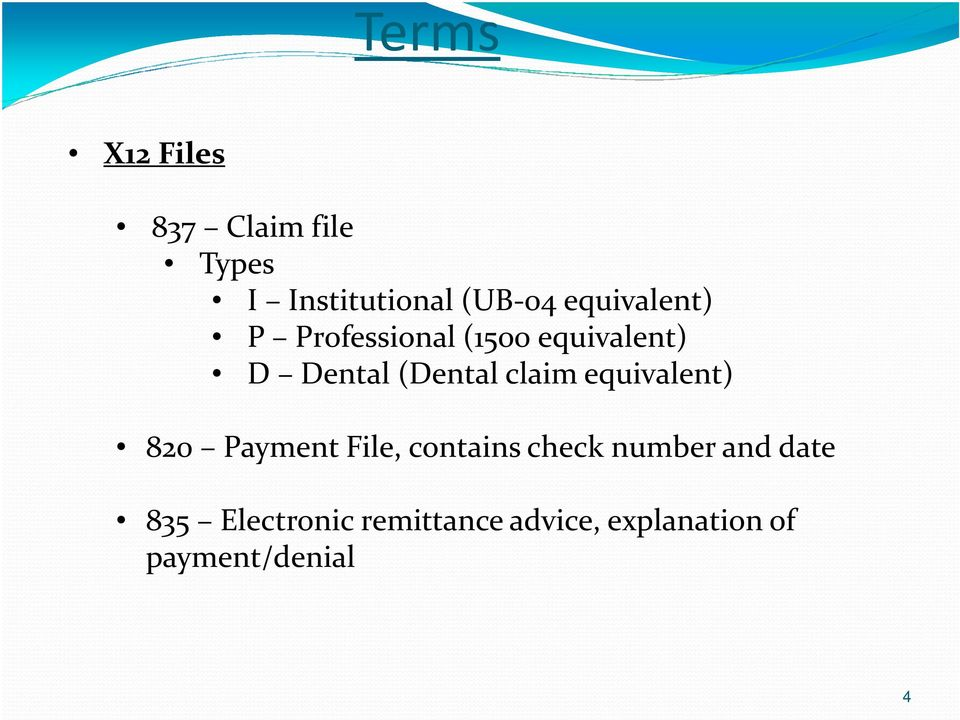 claim equivalent) 820 Payment File, contains check number and