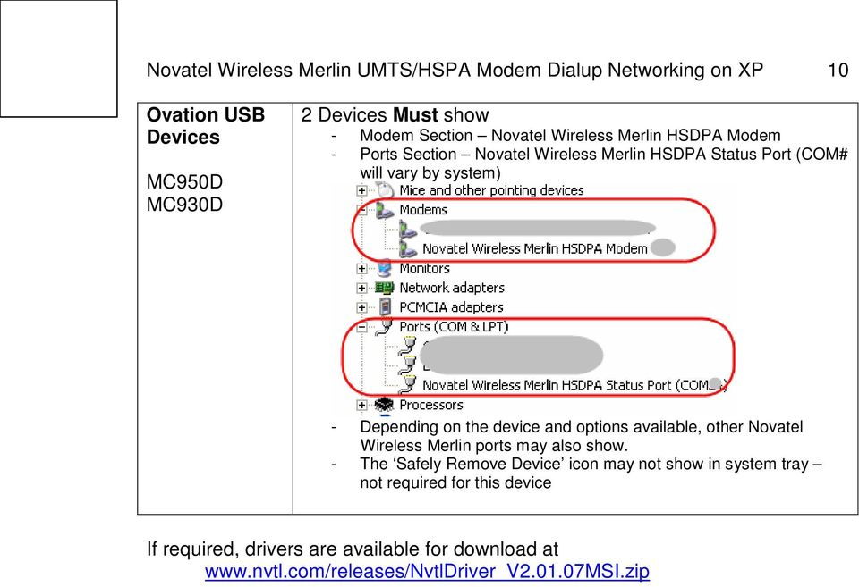 the device and options available, other Novatel Wireless Merlin ports may also show.