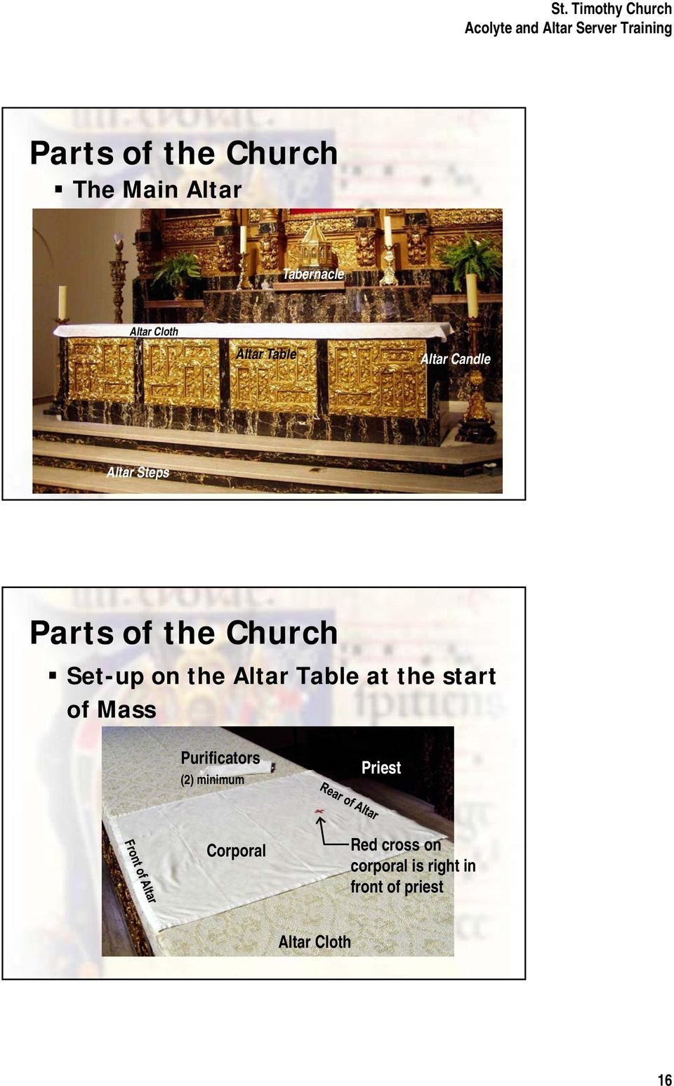 Altar Table at the start of Mass Purificators (2) minimum Priest