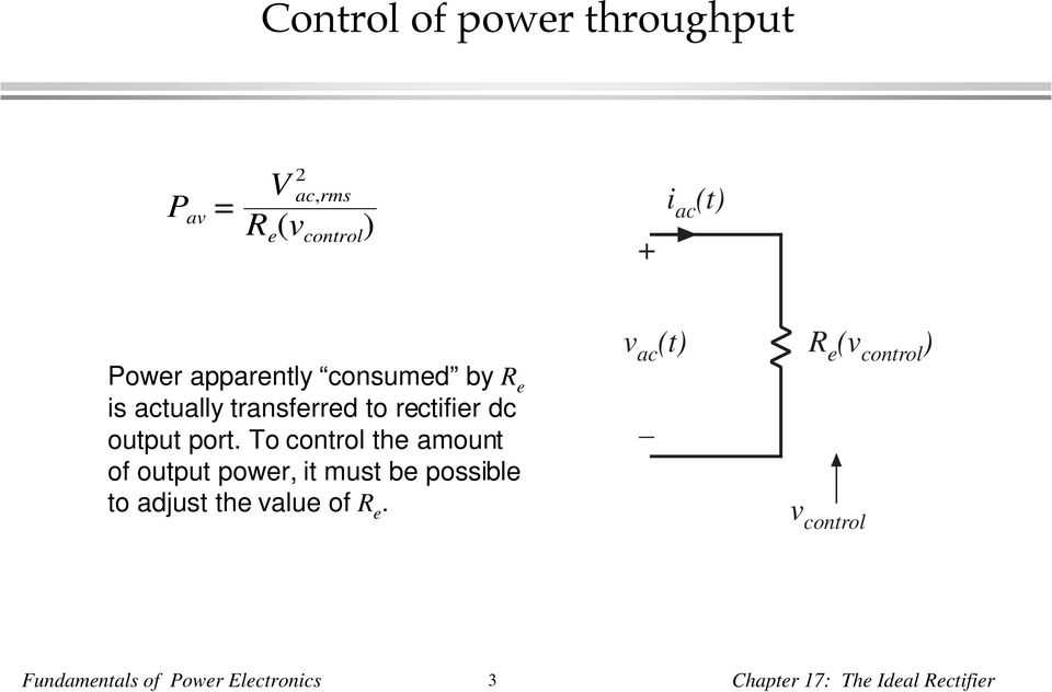 To control the amount of output power, it must be possible to adjust the value of R