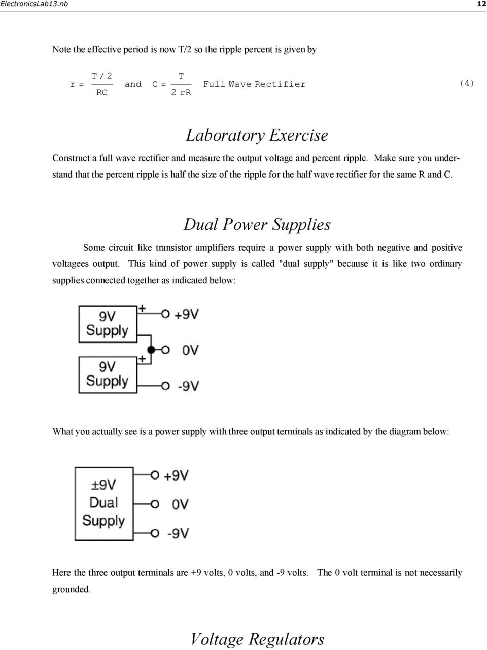 13 Diode Rectifiers Filters And Power Supplies Pdf Rectifiercircuits2 Dual Some Circuit Like Transistor Amplifiers Require A Supply With Both Negative
