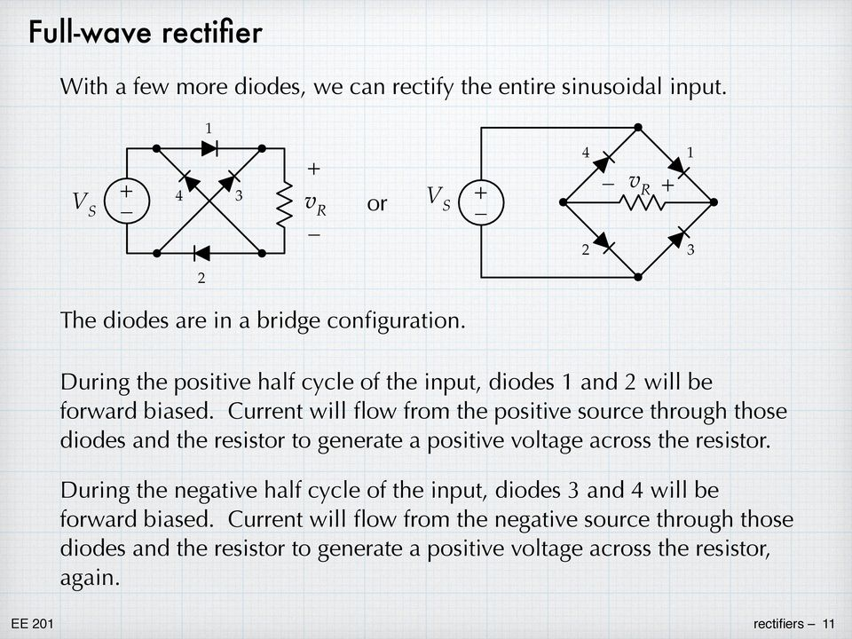 diodes and the resistor to generate a positive voltage across the resistor During the negative half cycle of the input, diodes 3 and 4 will be forward