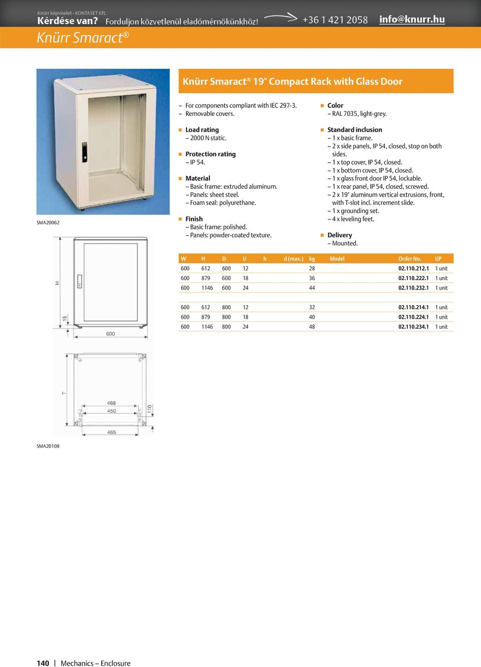 "1 x bottom cover, IP 54, closed. 1 x glass front door IP 54, lockable. 1 x rear panel, IP 54, closed, screwed. 2 x 19"" aluminum vertical extrusions, front, with T-slot incl. increment slide."