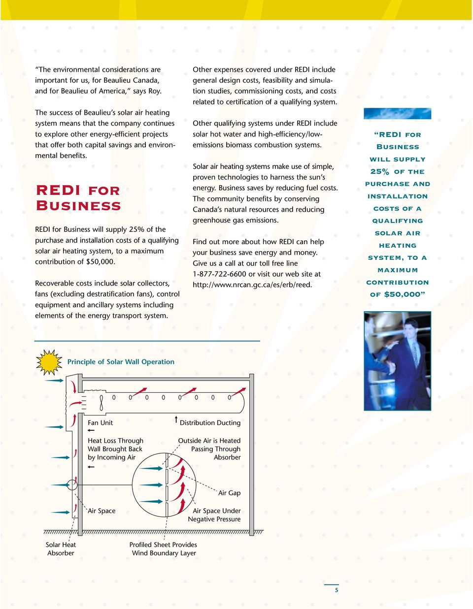 REDI for Business REDI for Business will supply 25% of the purchase and installation costs of a qualifying solar air heating system, to a maximum contribution of $50,000.