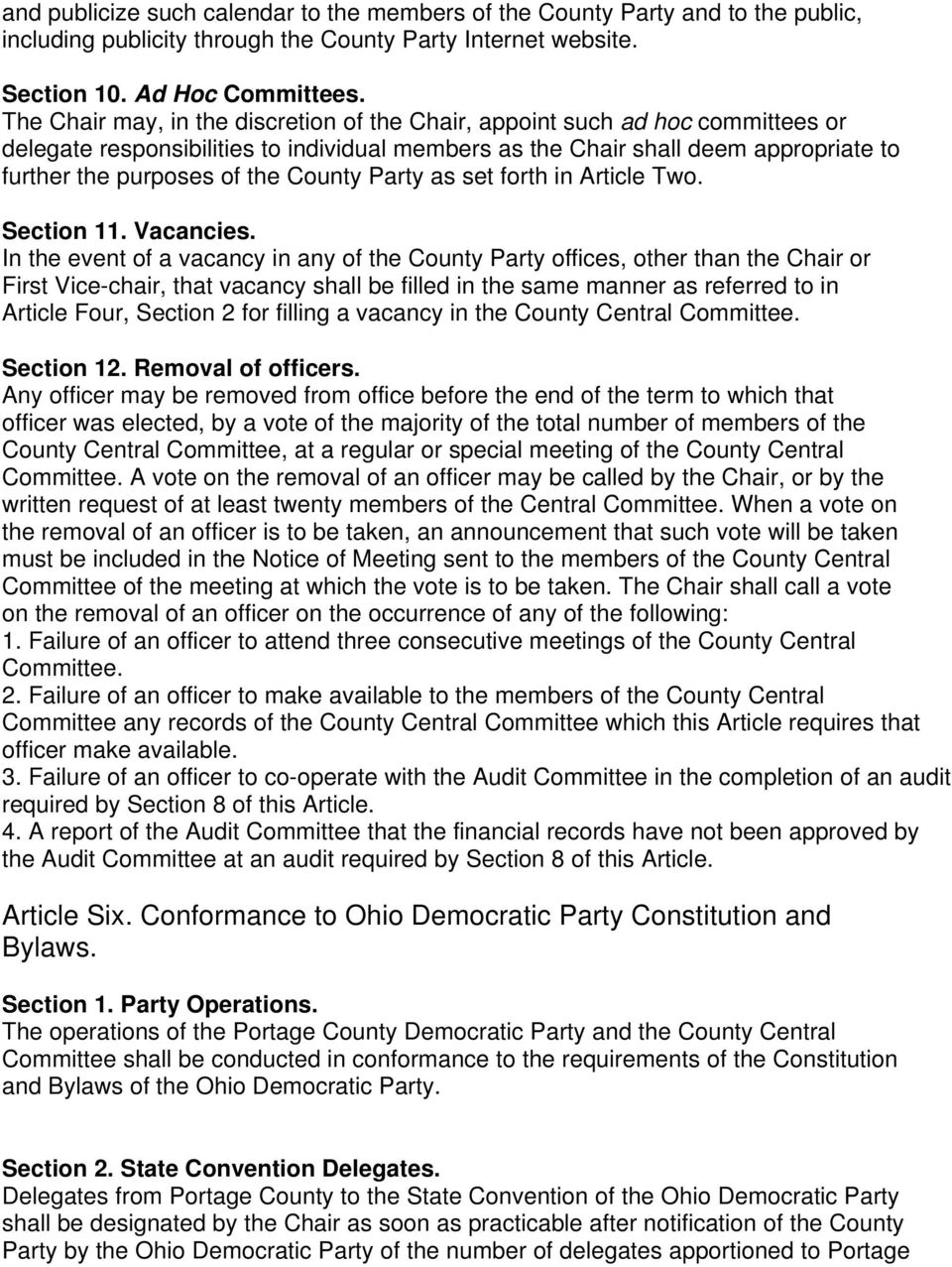 County Party as set forth in Article Two. Section 11. Vacancies.