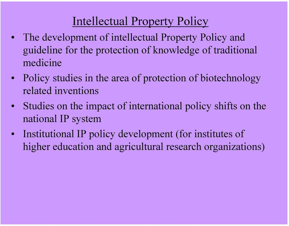 biotechnology related inventions Studies on the impact of international policy shifts on the national