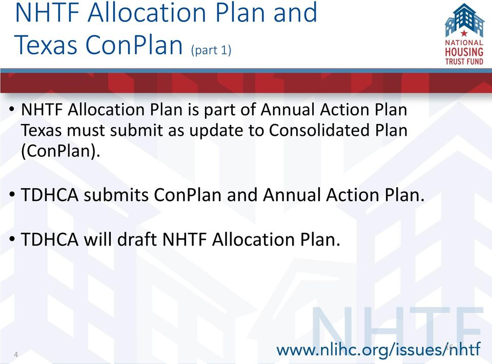 submit as update to Consolidated Plan (ConPlan).