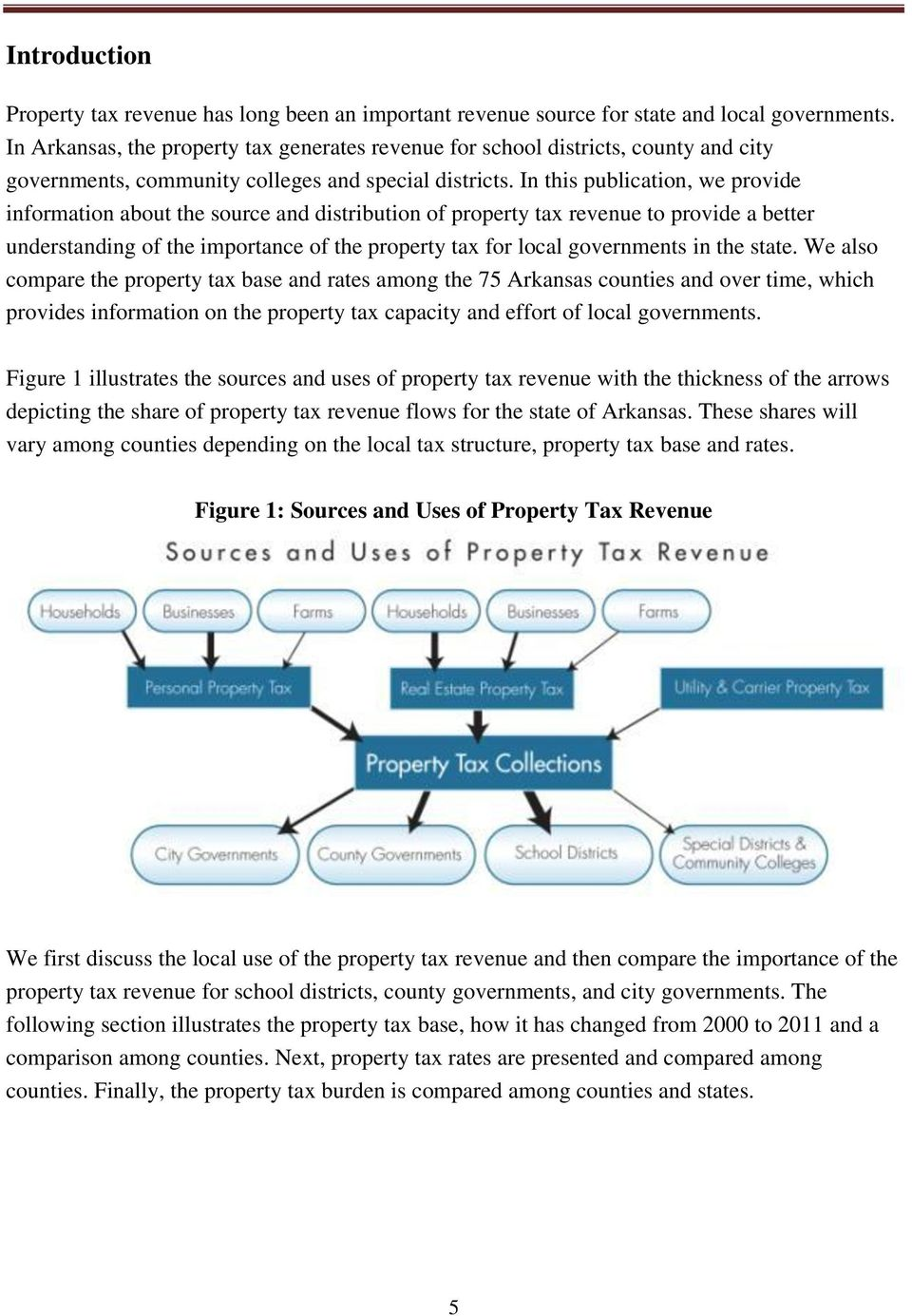 In this publication, we provide information about the source and distribution of property tax revenue to provide a better understanding of the importance of the property tax for local governments in