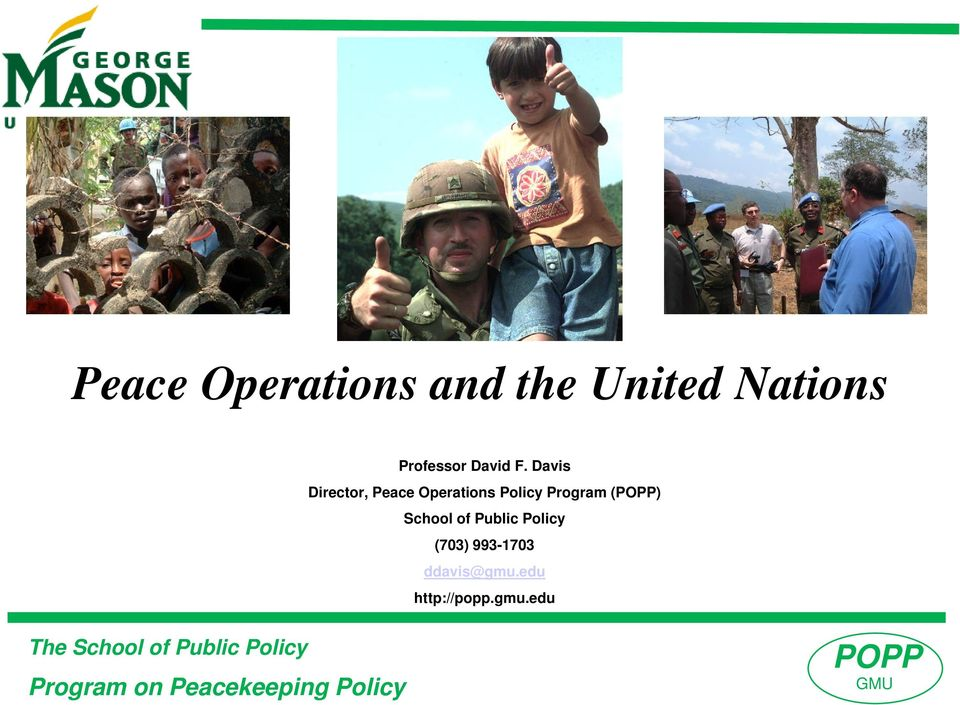 Davis Director, Peace Operations Policy