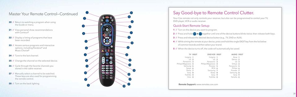 Your Cox remote not only controls your receiver, but also can be programmed to control your TV, DVD player, VCR or audio receiver. Quick-Start Remote Setup 1 // Turn on the device you want to program.