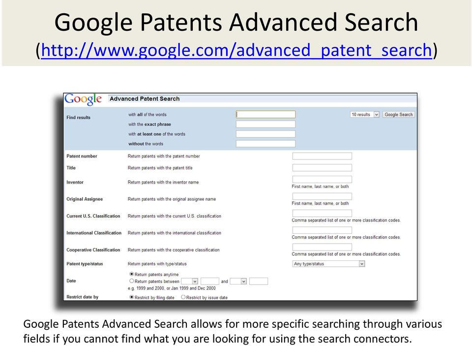 allows for more specific searching through various fields