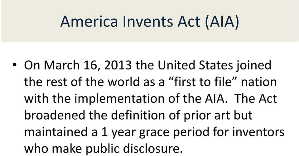 implementation of the AIA.