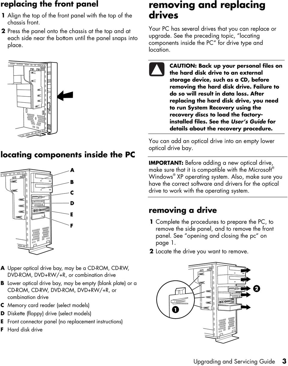 removing and replacing drives Your PC has several drives that you can replace or upgrade. See the preceding topic, locating components inside the PC for drive type and location.