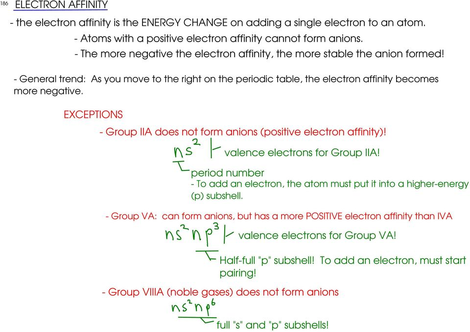 EXCEPTIONS - Group IIA does not form anions (positive electron affinity)! valence electrons for Group IIA! period number - To add an electron, the atom must put it into a higher-energy (p) subshell.