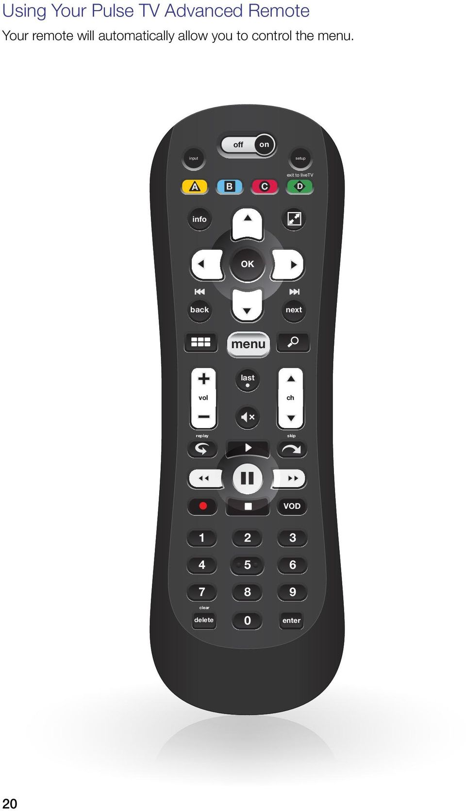20 7 8 9 clear 4 5 6 enter 0 Using Your Pulse TV Advanced Remote