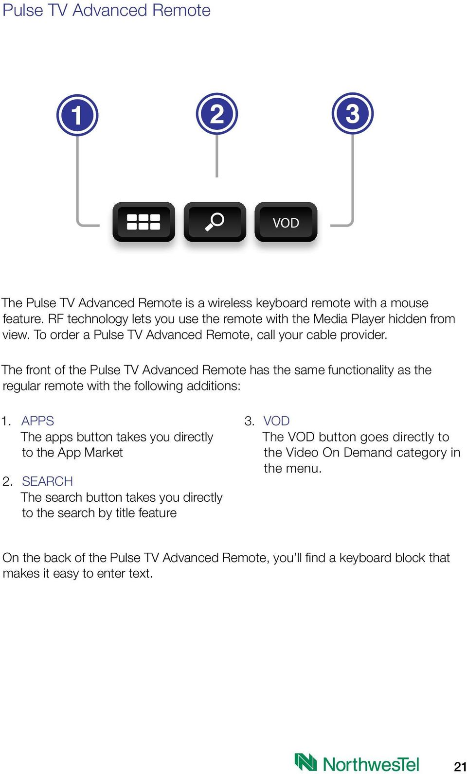 The front of the Pulse TV Advanced Remote has the same functionality as the regular remote with the following additions: 1.