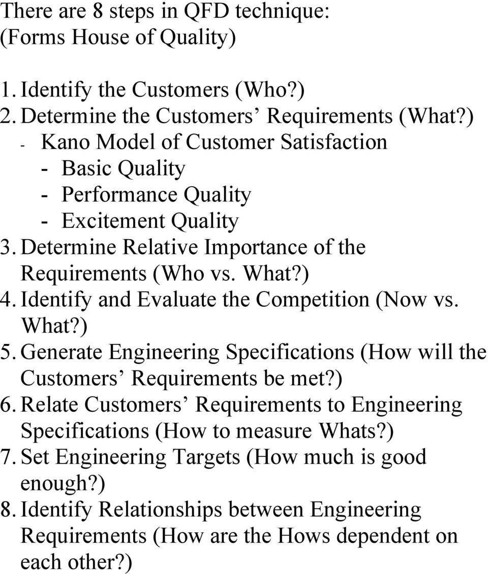 Identify and Evaluate the Competition (Now vs. What?) 5. Generate Engineering Specifications (How will the Customers Requirements be met?) 6.