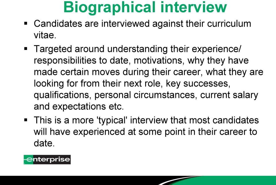 during their career, what they are looking for from their next role, key successes, qualifications, personal