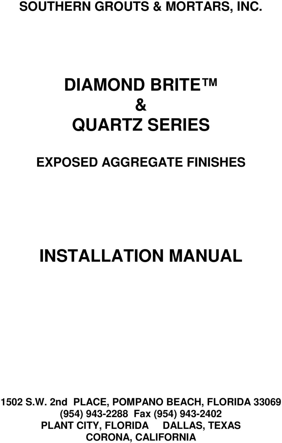 Diamond Brite Quartz Series Installation Manual Pdf