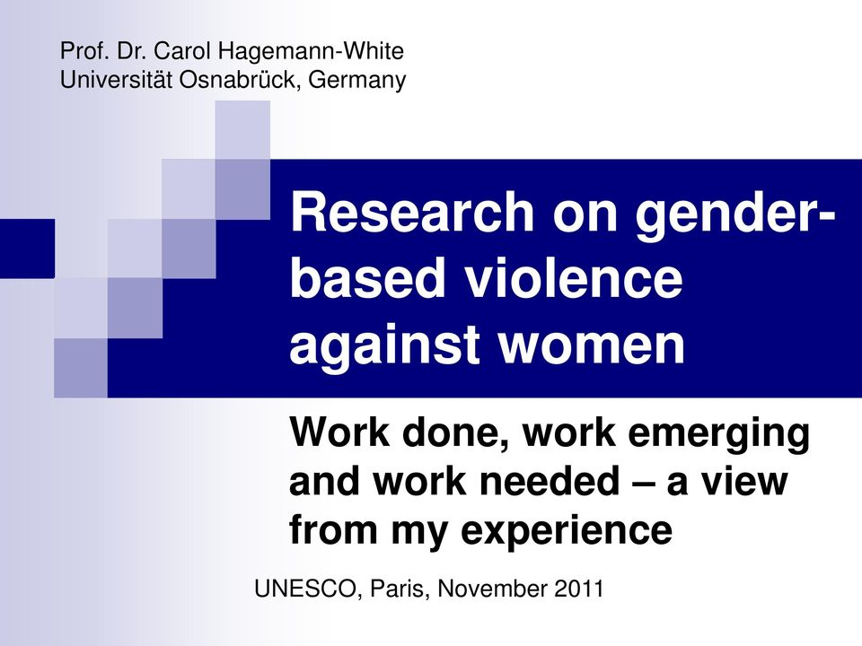 Germany Research on genderbased violence against