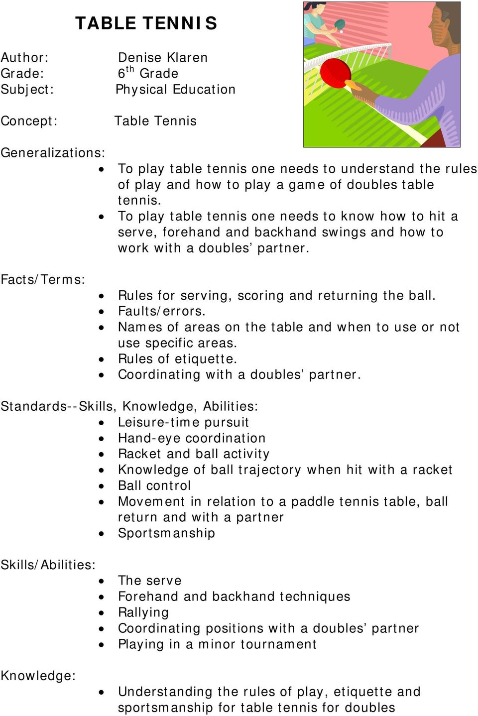 Facts/Terms: Rules for serving, scoring and returning the ball. Faults/errors. Names of areas on the table and when to use or not use specific areas. Rules of etiquette.