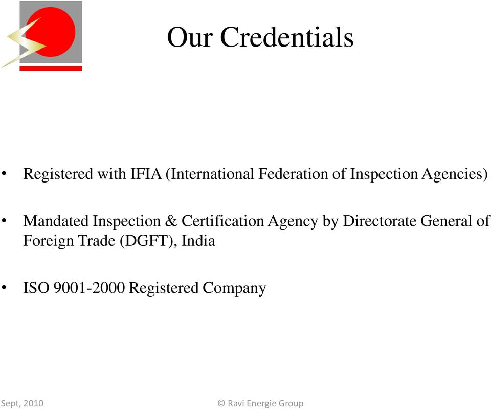 Inspection & Certification Agency by Directorate