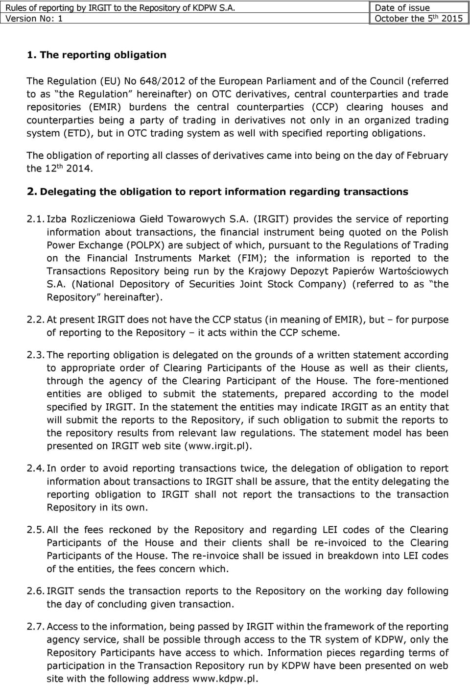 Rules Of Reporting By Irgit To The Repository Of Kdpw Sa Pdf