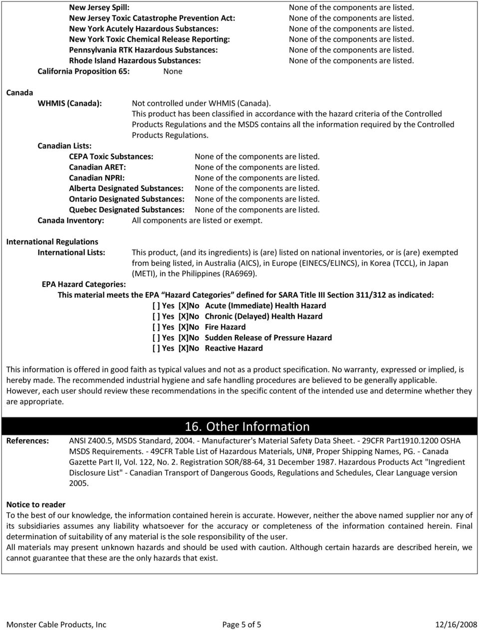 Material Safety Data Sheet (MSDS) Monster Cable Products, Inc  - PDF