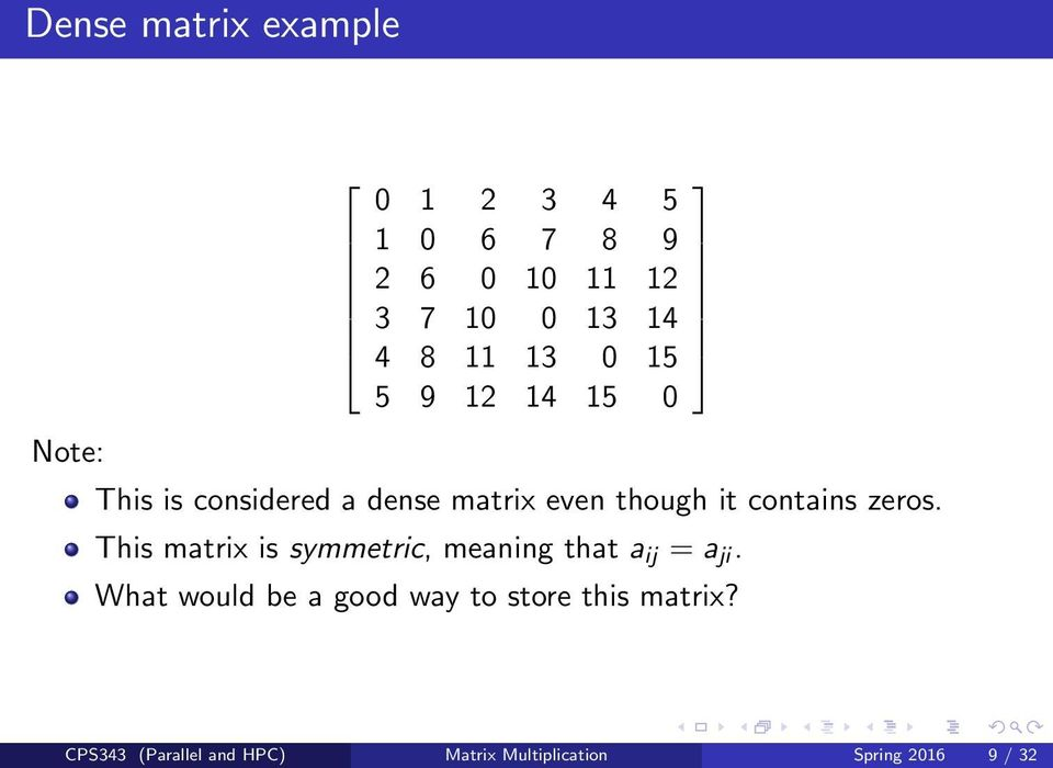 zeros. This matrix is symmetric, meaning that a ij = a ji.