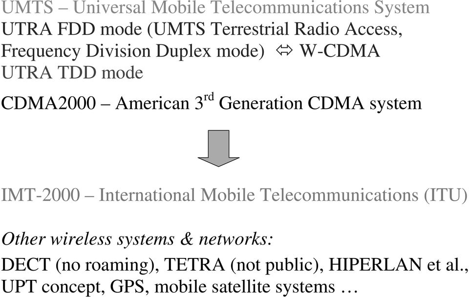 system IMT-2000 International Mobile Telecommunications (ITU) Other wireless systems &