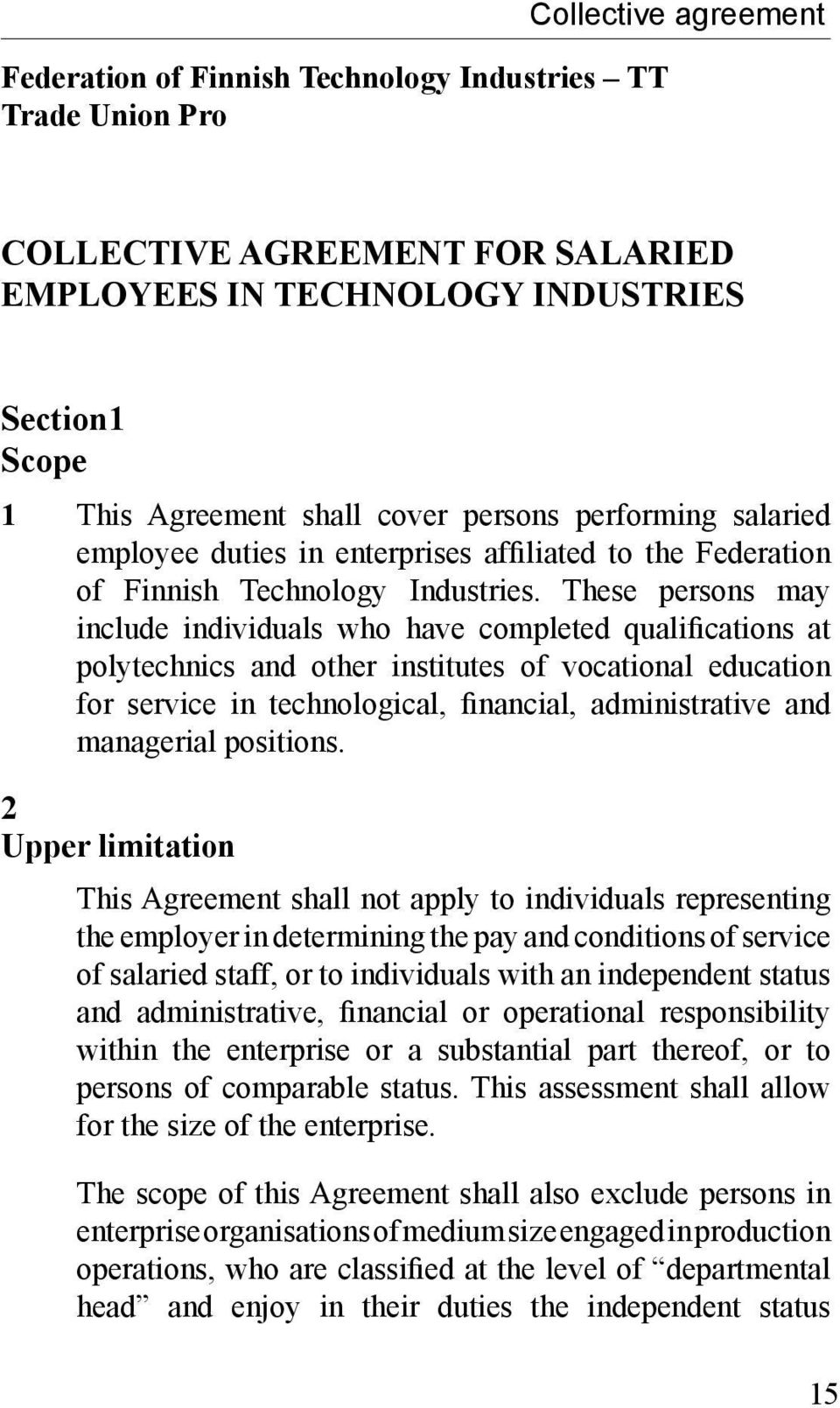 Collective Agreement For Salaried Employees In Technology Industries