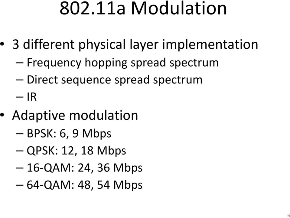 sequence spread spectrum IR Adaptive modulation BPSK: 6,