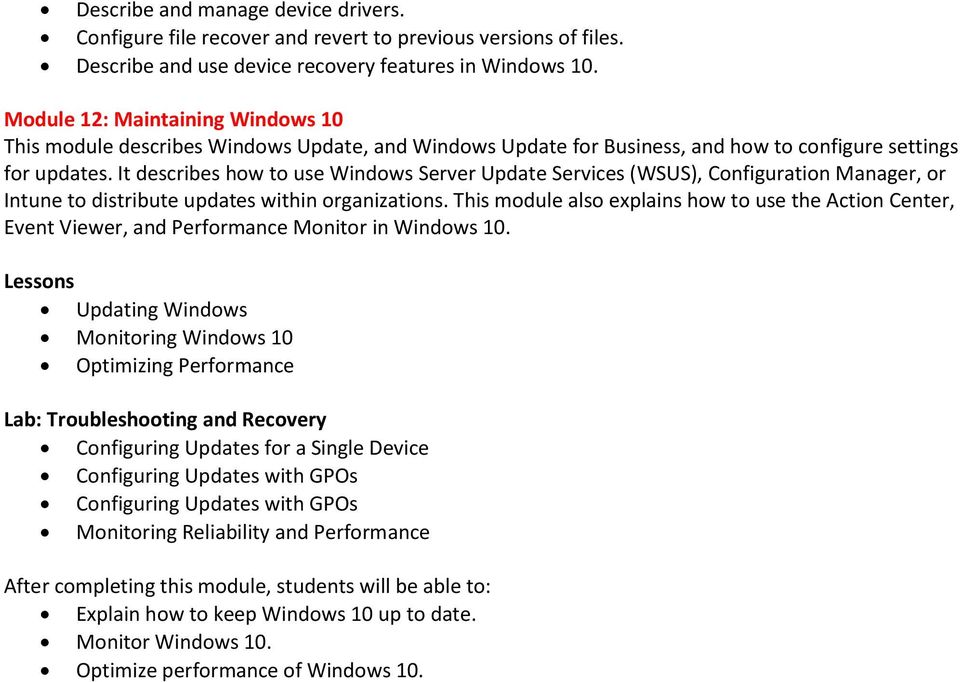 It describes how to use Windows Server Update Services (WSUS), Configuration Manager, or Intune to distribute updates within organizations.