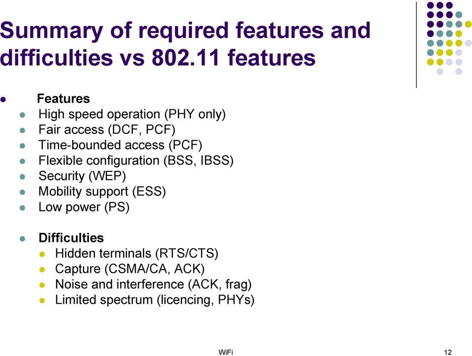 (PCF) Flexible configuration (BSS, IBSS) Security (WEP) Mobility support (ESS) Low power (PS)